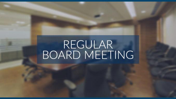 Next Upcoming Board Meeting